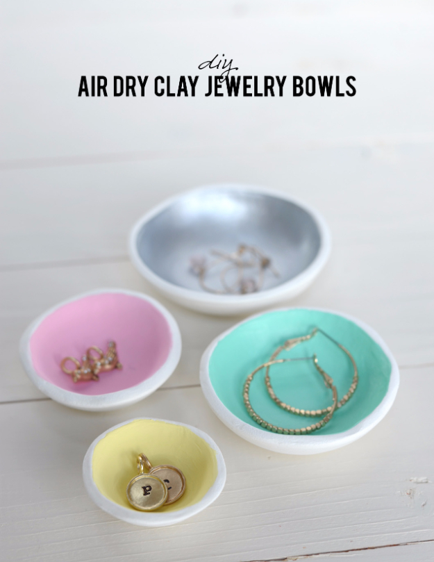 Dollar Store Crafts - DIY Air Dry Clay Jewelry Bowls - Best Cheap DIY Dollar Store Craft Ideas for Kids, Teen, Adults, Gifts and For Home #dollarstore #crafts #cheapcrafts #diy