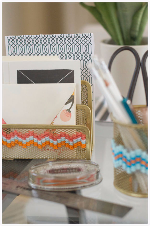 Clever DIYs Made With Yarn - DIY Cross Stitch Office Supplies - Yarn Crafts To Try, Easy Yarn DIYs, Fun Crafts To Do With Yarn, Wall Art, Awesome Yarn Ideas, Yarn DIY Projects, Brillian Yarn Craft Tutorials http://diyjoy.com/diy-yarn-crafts
