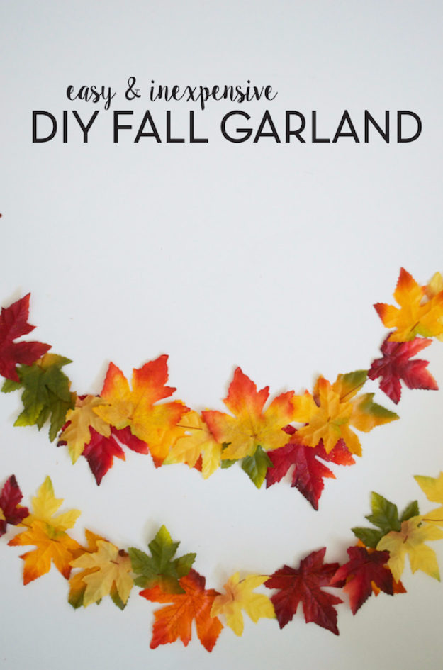 38 Best DIY Projects for Fall - DIY Fall Leaf Garland - Quick And Easy Projects For Fall, Fun DIY Projects To Try This Fall, Cute Fall Craft Ideas, Fall Decors, Easy DIY Crafts For Fall http://diyjoy.com/diy-projects-for-fall
