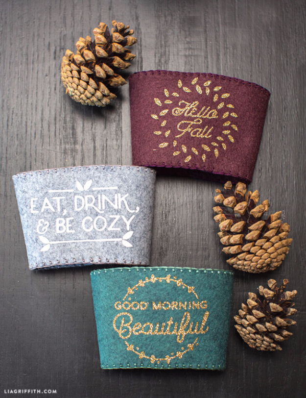38 Best DIY Projects for Fall - DIY Felt Fall Coffee Sleeves - Quick And Easy Projects For Fall, Fun DIY Projects To Try This Fall, Cute Fall Craft Ideas, Fall Decors, Easy DIY Crafts For Fall http://diyjoy.com/diy-projects-for-fall