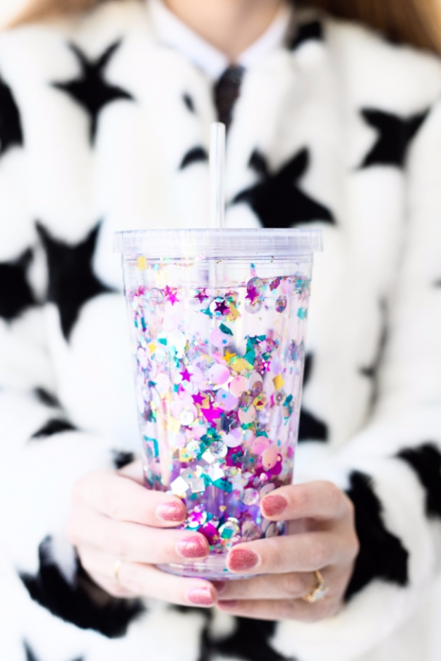Dollar Store Crafts - DIY Floating Glitter Tumbler - Best Cheap DIY Dollar Store Craft Ideas for Kids, Teen, Adults, Gifts and For Home #dollarstore #crafts #cheapcrafts #diy