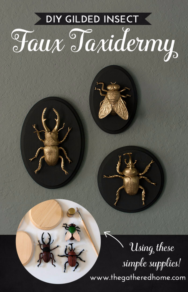 37 Quickest DIY Gifts You Can Make - DIY Gilded Insect Faux Taxidermy - Easy and Quick Last Minute DIY Gift Ideas for Mom, Dad, Him or Her, Freinds, Teens, Kids, Girls and Boys. Fast Crafts and Fun Ideas in A Jar, Birthday Presents - Step by Step Tutorials http://diyjoy.com/quick-diy-gifts