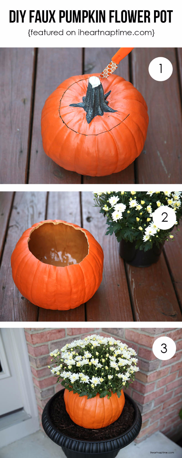 38 Best DIY Projects for Fall - DIY Pumpkin Flower Pot - Quick And Easy Projects For Fall, Fun DIY Projects To Try This Fall, Cute Fall Craft Ideas, Fall Decors, Easy DIY Crafts For Fall http://diyjoy.com/diy-projects-for-fall