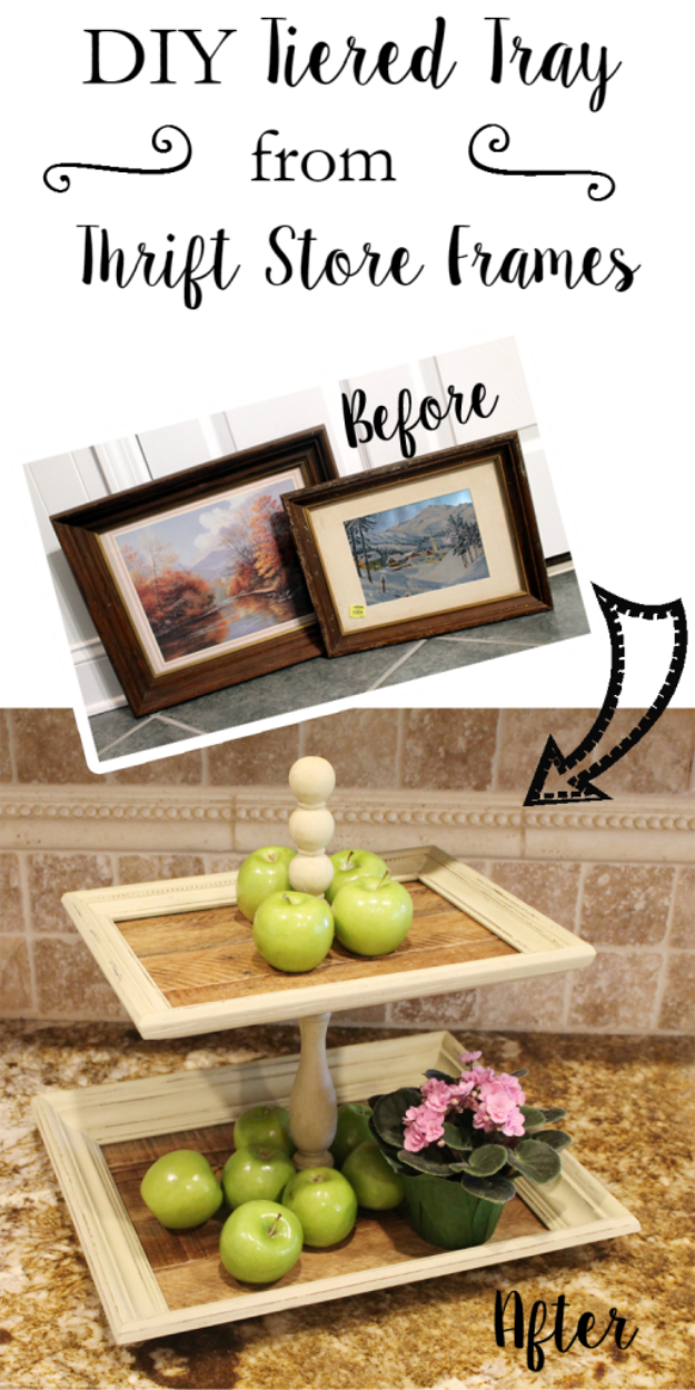 Dollar Store Crafts - DIY Tiered Trays From Thrift Store Frames - Best Cheap DIY Dollar Store Craft Ideas for Kids, Teen, Adults, Gifts and For Home #dollarstore #crafts #cheapcrafts #diy