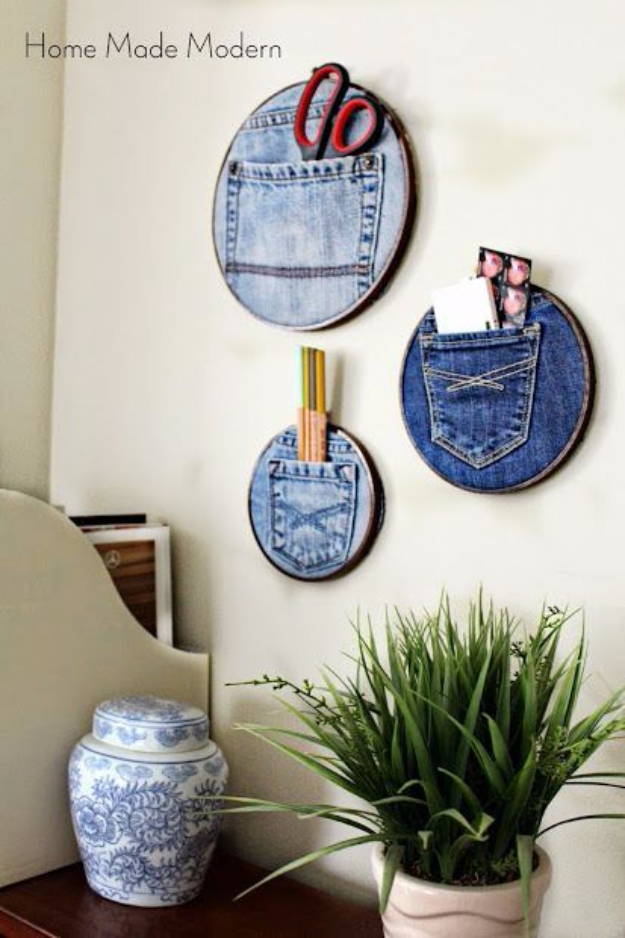 Dollar Store Crafts - Denim Pocket Organizers - Best Cheap DIY Dollar Store Craft Ideas for Kids, Teen, Adults, Gifts and For Home #dollarstore #crafts #cheapcrafts #diy