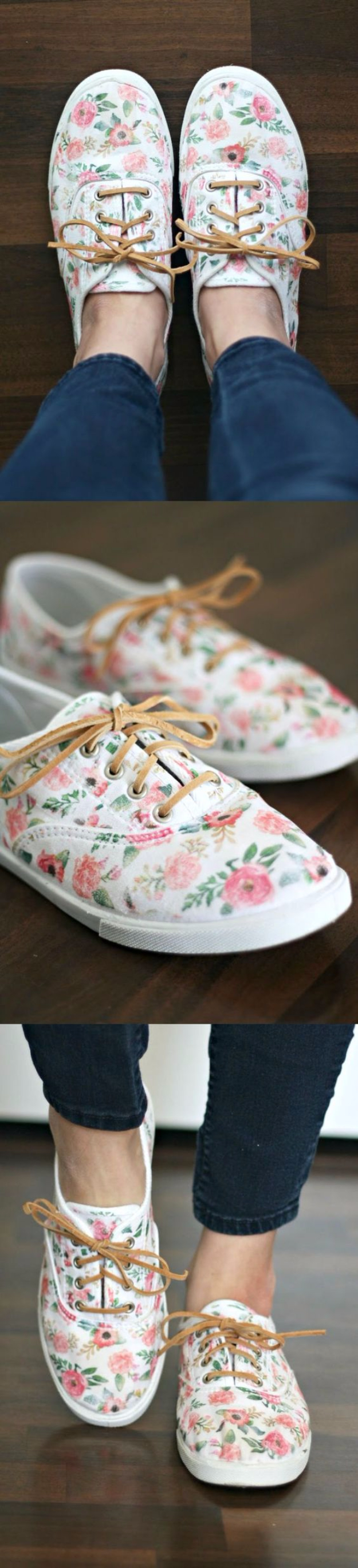 Dollar Store Crafts - Iron-On Floral Patterned DIY Shoes - Best Cheap DIY Dollar Store Craft Ideas for Kids, Teen, Adults, Gifts and For Home #dollarstore #crafts #cheapcrafts #diy