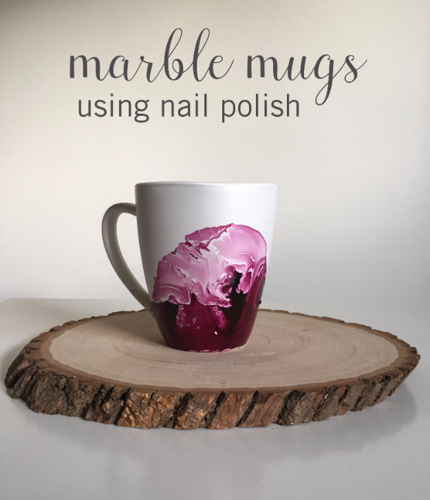 Dollar Store Crafts - Marble Mugs Using Nail Polish - Best Cheap DIY Dollar Store Craft Ideas for Kids, Teen, Adults, Gifts and For Home #dollarstore #crafts #cheapcrafts #diy