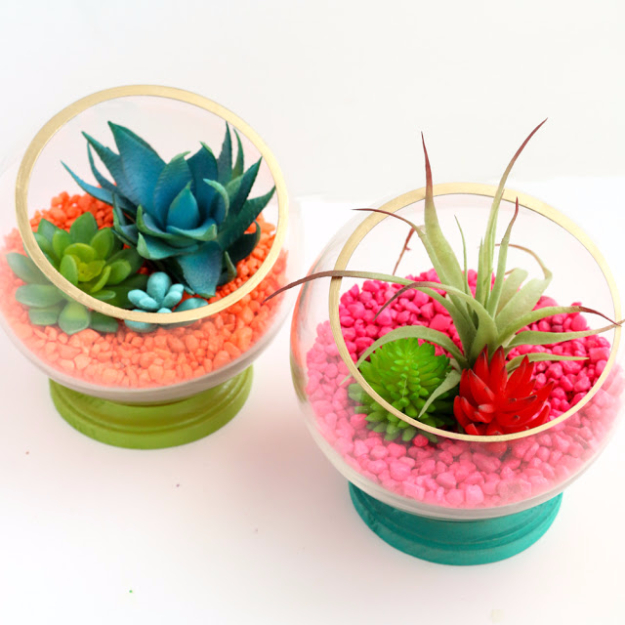 37 Quickest DIY Gifts You Can Make - Neon Footed Terrariums - Easy and Quick Last Minute DIY Gift Ideas for Mom, Dad, Him or Her, Freinds, Teens, Kids, Girls and Boys. Fast Crafts and Fun Ideas in A Jar, Birthday Presents - Step by Step Tutorials http://diyjoy.com/quick-diy-gifts