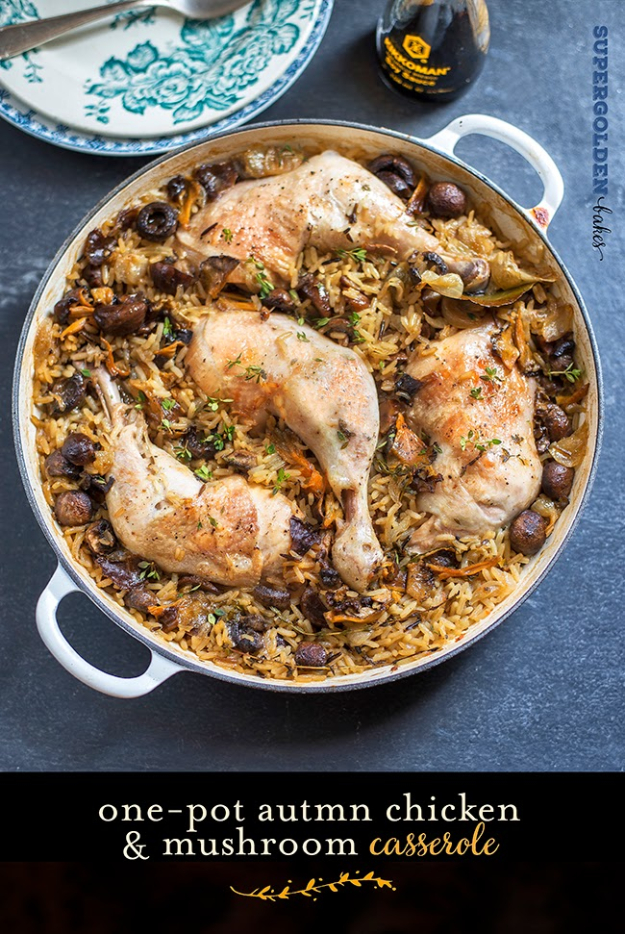 35 Fall Recipes - One Pot Chicken And Mushroom Casserole - Best Quick And Easy Fall Recipe Ideas and Healthy Dishes You Can Make For Dinner, Soup, Appetizers, Crockpot and Slow Cooker Snacks and Drinks, Even Dessert http://diyjoy.com/best-fall-recipes