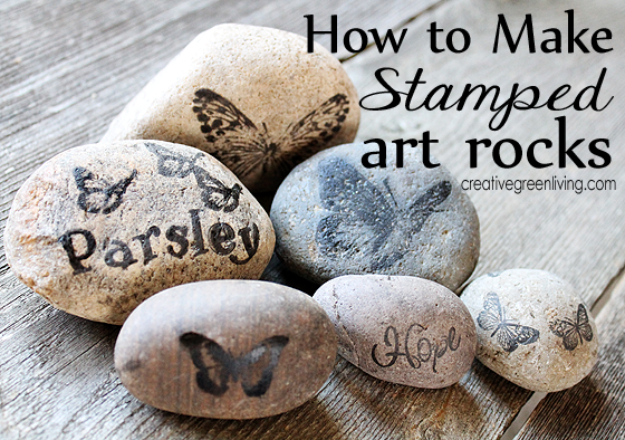 Dollar Store Crafts - Stamped Rocks for Your Garden - Best Cheap DIY Dollar Store Craft Ideas for Kids, Teen, Adults, Gifts and For Home #dollarstore #crafts #cheapcrafts #diy