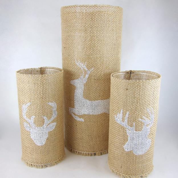 Dollar Store Crafts - Stenciled Burlap Candle Holders - Best Cheap DIY Dollar Store Craft Ideas for Kids, Teen, Adults, Gifts and For Home #dollarstore #crafts #cheapcrafts #diy