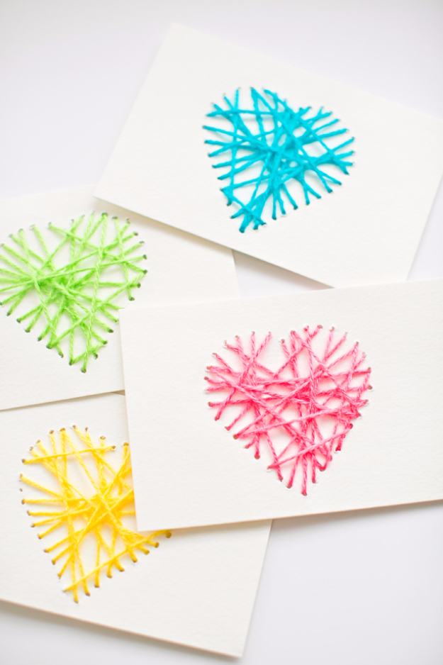 Clever DIYs Made With Yarn - String Heart Yarn Cards - Yarn Crafts To Try, Easy Yarn DIYs, Fun Crafts To Do With Yarn, Wall Art, Awesome Yarn Ideas, Yarn DIY Projects, Brillian Yarn Craft Tutorials http://diyjoy.com/diy-yarn-crafts