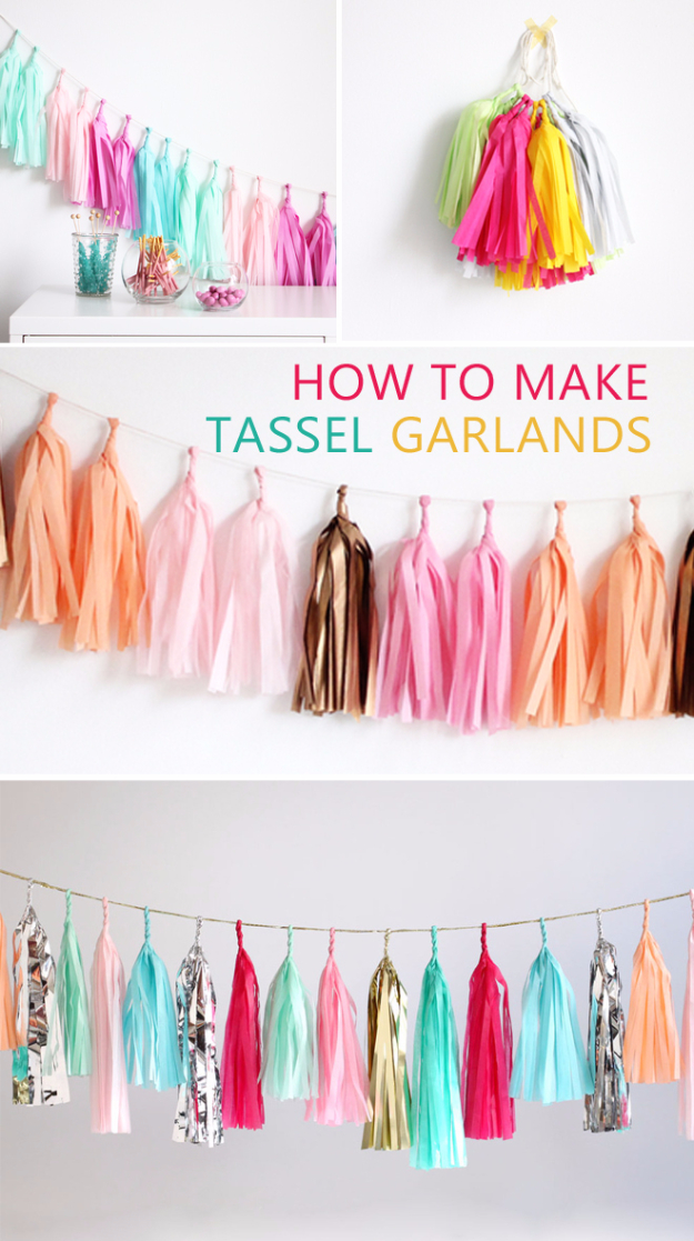 Dollar Store Crafts - Tassel Garland DIY - Best Cheap DIY Dollar Store Craft Ideas for Kids, Teen, Adults, Gifts and For Home #dollarstore #crafts #cheapcrafts #diy