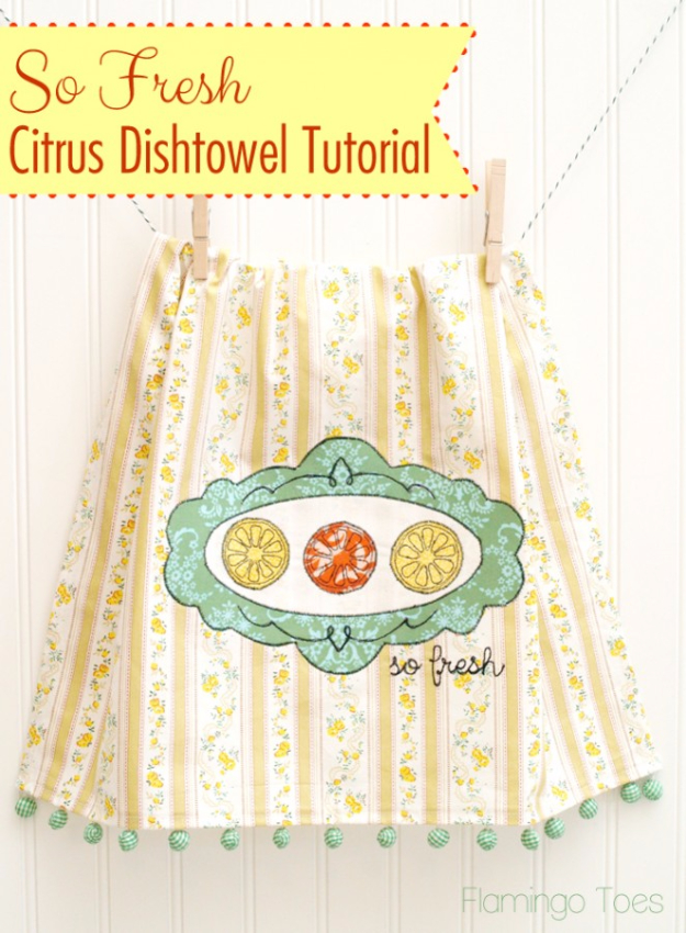 Quick DIY Gifts You Can Sew - Citrus Embroidered Dishtowel - Best Sewing Projects for Gift Giving and Simple Handmade Presents - Free Patterns and Easy Step by Step Tutorials for Home Decor, Baby, Women, Kids, Men, Girls http://diyjoy.com/quick-diy-gifts-sew