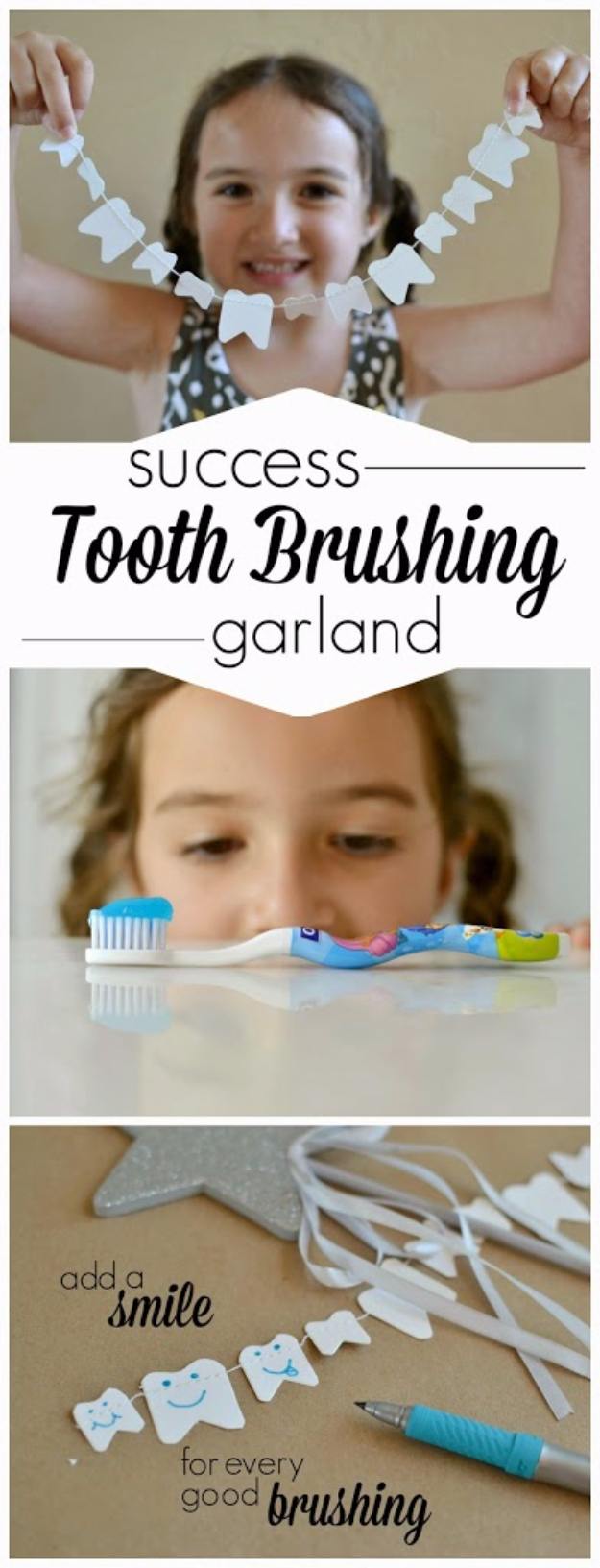 32 DIY Parenting Hacks - DIY Tooth Brushing Success Garland - Brilliant Parenting Hacks, Tips And Tricks That Will Make Parenting Easier, Parenting Made Fun, Genius Parenting Hacks Every Parent Should Know, Best Parenting Hacks, Extremely Clever Parenting Hacks http://diyjoy.com/diy-parenting-hacks