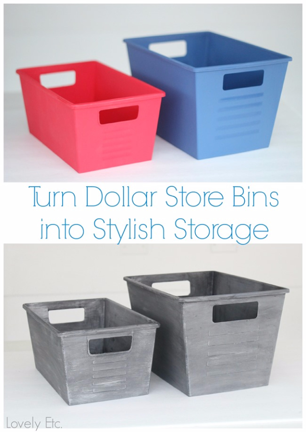 39 Easiest Dollar Store Crafts Ever - Dollar Store Bins Turned Stylish With Paint - Quick And Cheap Crafts To Make, Dollar Store Craft Ideas To Make And Sell, Cute Dollar Store Do It Yourself Projects, Cheap Craft Ideas, Dollar Sore Decor, Creative Dollar Store Crafts http://diyjoy.com/easy-dollar-store-crafts
