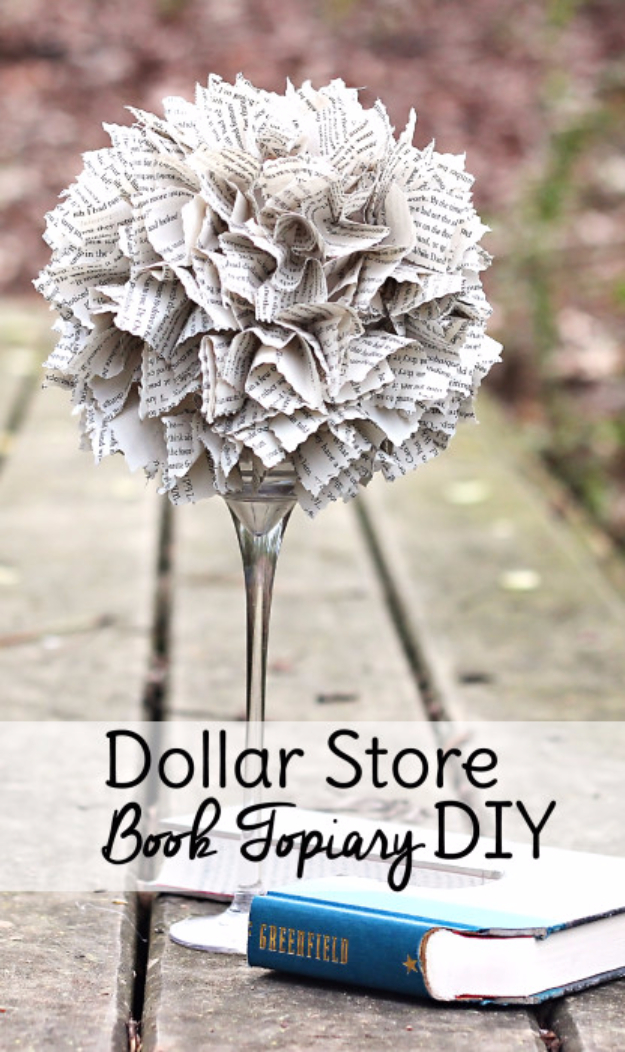 39 Easiest Dollar Store Crafts Ever - Dollar Store Book Topiary DIY - Quick And Cheap Crafts To Make, Dollar Store Craft Ideas To Make And Sell, Cute Dollar Store Do It Yourself Projects, Cheap Craft Ideas, Dollar Sore Decor, Creative Dollar Store Crafts http://diyjoy.com/easy-dollar-store-crafts