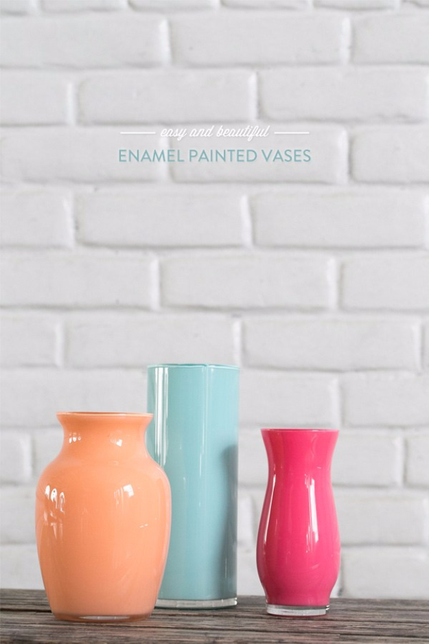 39 Easiest Dollar Store Crafts Ever - Easy And Beautiful Enamel Painted Vases - Quick And Cheap Crafts To Make, Dollar Store Craft Ideas To Make And Sell, Cute Dollar Store Do It Yourself Projects, Cheap Craft Ideas, Dollar Sore Decor, Creative Dollar Store Crafts http://diyjoy.com/easy-dollar-store-crafts