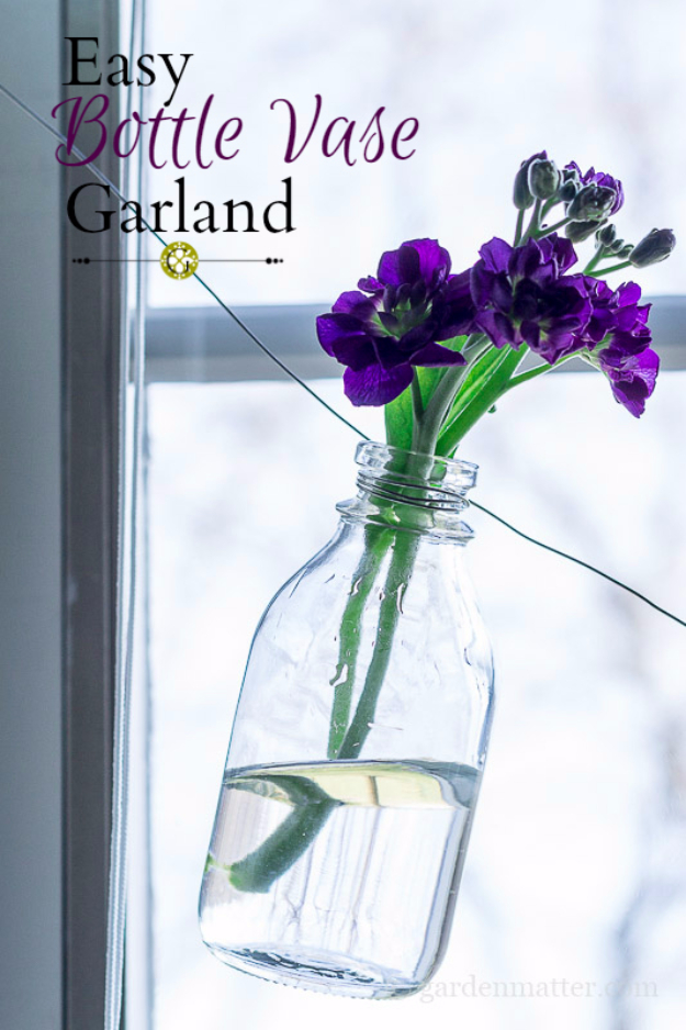 39 Easiest Dollar Store Crafts Ever - Easy Bottle Vase Garland - Quick And Cheap Crafts To Make, Dollar Store Craft Ideas To Make And Sell, Cute Dollar Store Do It Yourself Projects, Cheap Craft Ideas, Dollar Sore Decor, Creative Dollar Store Crafts http://diyjoy.com/easy-dollar-store-crafts