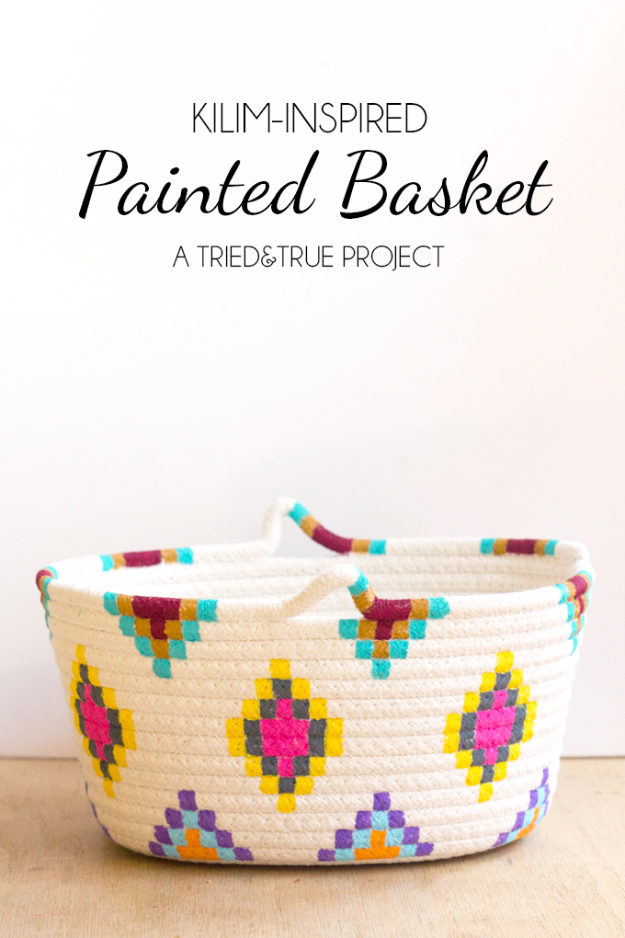 DIY Gifts for Mom - Kilim Inspired Painted Basket - Best Craft Projects and Gift Ideas You Can Make for Your Mother - Last Minute Presents for Birthday and Christmas - Creative Photo Projects, Bath Ideas, Gift Baskets and Thoughtful Things to Give Mothers and Moms http://diyjoy.com/diy-gifts-for-mom