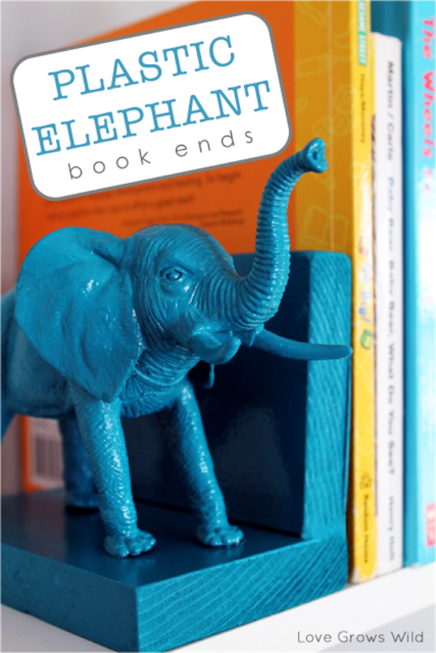 39 Easiest Dollar Store Crafts Ever - Plastic Elephant Bookends - Quick And Cheap Crafts To Make, Dollar Store Craft Ideas To Make And Sell, Cute Dollar Store Do It Yourself Projects, Cheap Craft Ideas, Dollar Sore Decor, Creative Dollar Store Crafts http://diyjoy.com/easy-dollar-store-crafts