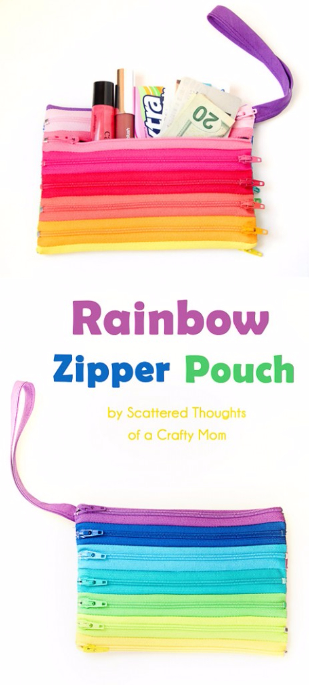 Quick DIY Gifts You Can Sew - Rainbow Zipper Pouch - Best Sewing Projects for Gift Giving and Simple Handmade Presents - Free Patterns and Easy Step by Step Tutorials for Home Decor, Baby, Women, Kids, Men, Girls http://diyjoy.com/quick-diy-gifts-sew
