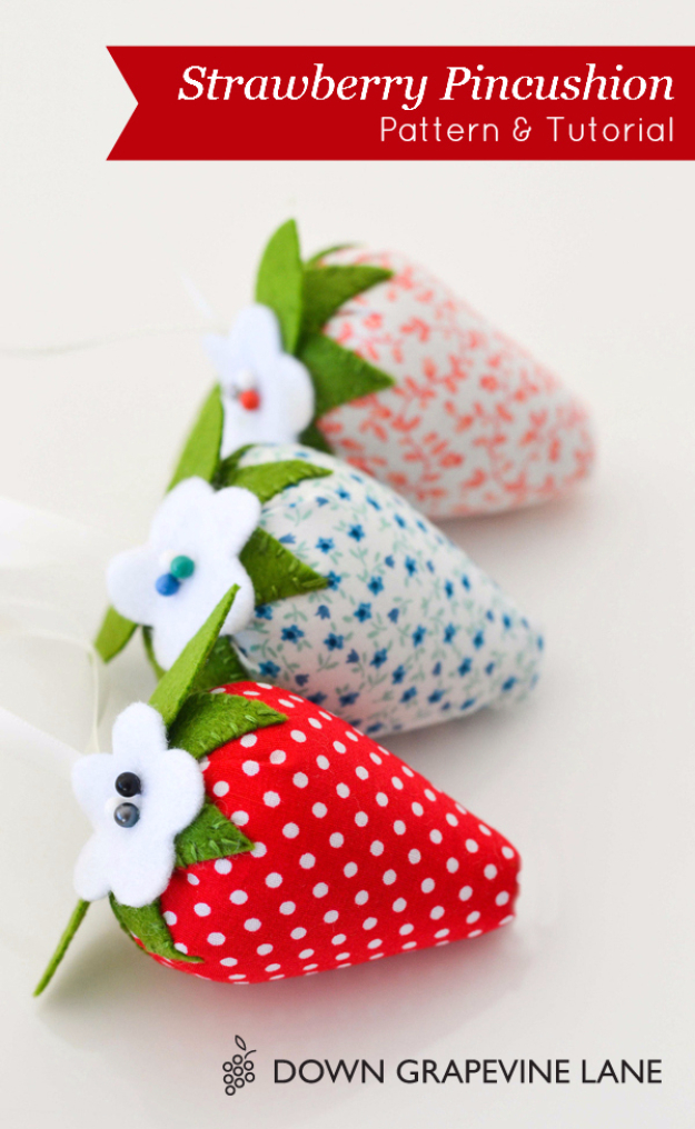 Quick DIY Gifts You Can Sew - Strawberry Pincushion - Best Sewing Projects for Gift Giving and Simple Handmade Presents - Free Patterns and Easy Step by Step Tutorials for Home Decor, Baby, Women, Kids, Men, Girls http://diyjoy.com/quick-diy-gifts-sew