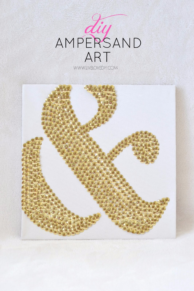39 Easiest Dollar Store Crafts Ever - Thumbtacks Ampersand Art - Quick And Cheap Crafts To Make, Dollar Store Craft Ideas To Make And Sell, Cute Dollar Store Do It Yourself Projects, Cheap Craft Ideas, Dollar Sore Decor, Creative Dollar Store Crafts http://diyjoy.com/easy-dollar-store-crafts