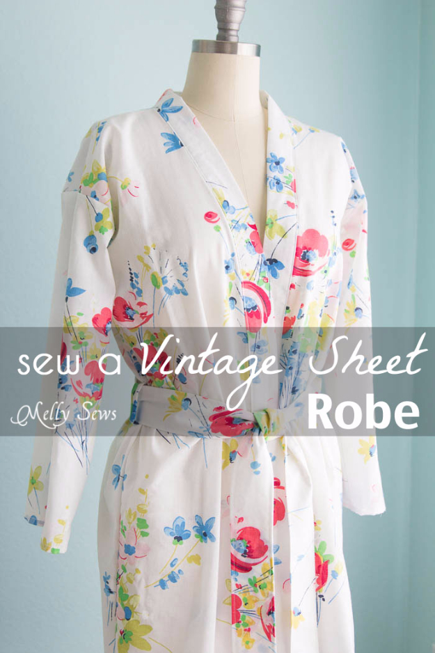 Quick DIY Gifts You Can Sew - Vintage Sheet Robe - Best Sewing Projects for Gift Giving and Simple Handmade Presents - Free Patterns and Easy Step by Step Tutorials for Home Decor, Baby, Women, Kids, Men, Girls http://diyjoy.com/quick-diy-gifts-sew