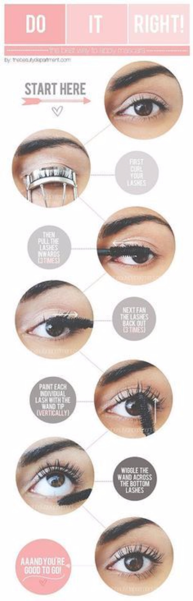 DIY Beauty Hacks - Apply Mascara Perfectly - Cool Tips for Makeup, Hair and Nails - Step by Step Tutorials for Fixing Broken Makeup, Eye Shadow, Mascara, Foundation - Quick Beauty Ideas for Best Looks in A Hurry http://diyjoy.com/diy-beauty-hacks