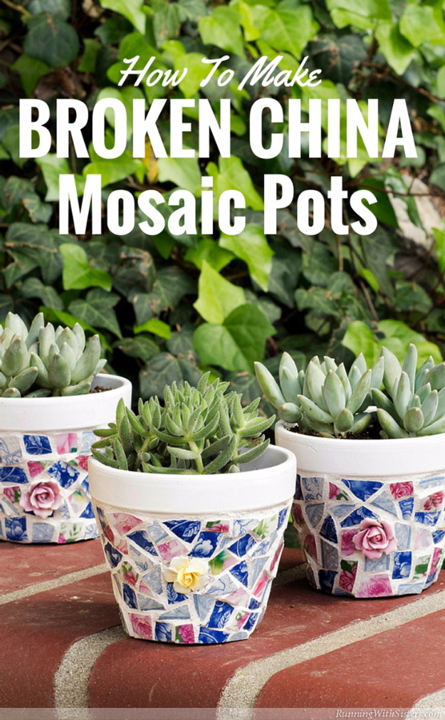 DIY Projects Made With Broken Tile - Broken China Mosaic Pots - Best Creative Crafts, Easy DYI Projects You Can Make With Tiles - Mosaic Patterns and Crafty DIY Home Decor Ideas That Make Awesome DIY Gifts and Christmas Presents for Friends and Family http://diyjoy.com/diy-projects-broken-tile