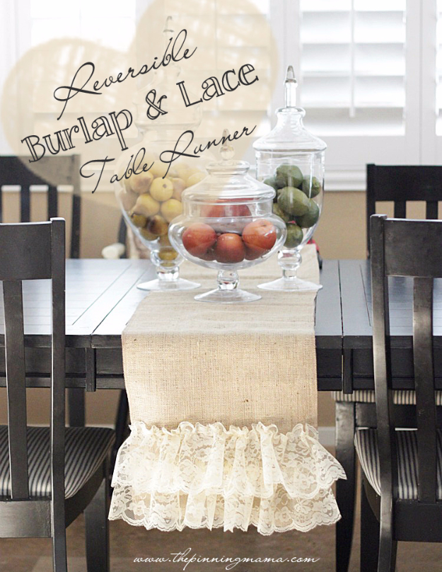DIY Gifts To Sew For Friends - Easy DIY Reversible Burlap And Lace Table Runner - Quick and Easy Sewing Projects and Free Patterns for Best Gift Ideas and Presents - Creative Step by Step Tutorials for Beginners - Cute Home Decor, Accessories, Kitchen Crafts and DIY Fashion Ideas http://diyjoy.com/diy-gifts-to-sew-for-friends