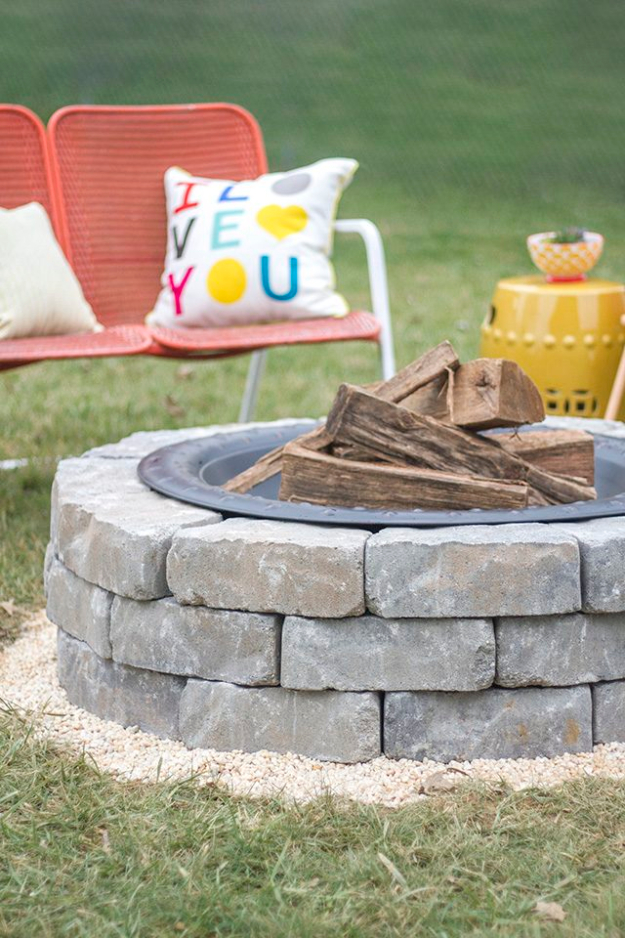 DIY Fireplace Ideas - Fire Pit With Landscape Wall Stones - Do It Yourself Firepit Projects and Fireplaces for Your Yard, Patio, Porch and Home. Outdoor Fire Pit Tutorials for Backyard with Easy Step by Step Tutorials - Cool DIY Projects for Men and Women http://diyjoy.com/diy-fireplace-ideas