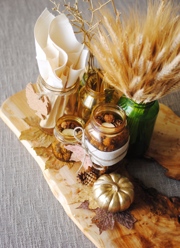 Best Thanksgiving Centerpieces and Table Decor - Mason Jar Thanksgiving Centerpiece - Creative Crafts for Your Thanksgiving Dinner Table. Mason Jars, Flowers, Leaves, Candles and Pumkin Decorations for Your FallHome Decor http://diyjoy.com/best-thanksgiving-centerpieces