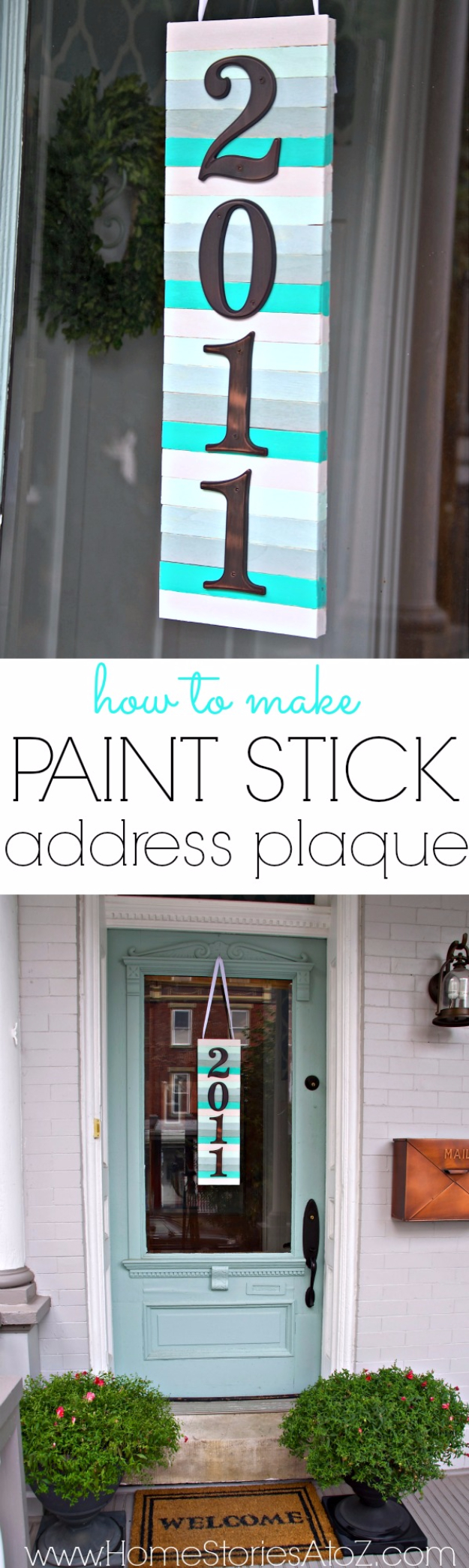 DIY Projects Made With Paint Sticks - Paint Stick Address Plaque - Best Creative Crafts, Easy DYI Projects You Can Make With Paint Sticks From The Hardware Store - Cool Paint Stick Crafts and Furniture Project Tutorials - Crafty DIY Home Decor Ideas, Wall Art and Furniture That Make Awesome DIY Gifts and Christmas Presents for Friends and Family http://diyjoy.com/diy-projects-paint-sticks