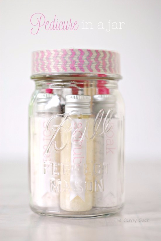 Best DIY Gifts in Mason Jars - Pedicure In A Jar - Cute Mason Jar Crafts and Recipe Ideas that Make Great DIY Christmas Presents for Friends and Family - Gifts for Her, Him, Mom and Dad - Gifts in A Jar That Are Easy, Quick and Cheap http://diyjoy.com/best-diy-mason-jar-gifts