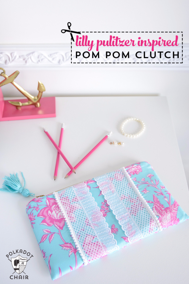 DIY Gifts To Sew For Friends - Pom Pom Clutch - Quick and Easy Sewing Projects and Free Patterns for Best Gift Ideas and Presents - Creative Step by Step Tutorials for Beginners - Cute Home Decor, Accessories, Kitchen Crafts and DIY Fashion Ideas http://diyjoy.com/diy-gifts-to-sew-for-friends