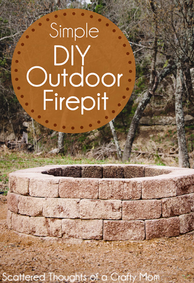 DIY Fireplace Ideas - Simple DIY Outdoor Firepit - Do It Yourself Firepit Projects and Fireplaces for Your Yard, Patio, Porch and Home. Outdoor Fire Pit Tutorials for Backyard with Easy Step by Step Tutorials - Cool DIY Projects for Men and Women http://diyjoy.com/diy-fireplace-ideas