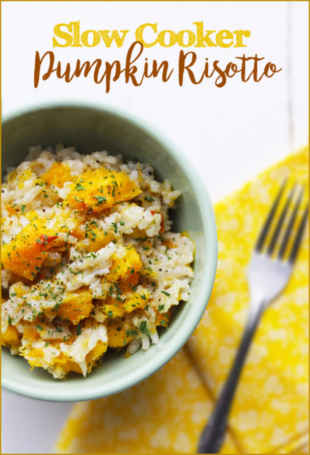 Thanksgiving Recipes You Can Make In A Crockpot or Slow Cooker - Slow Cooker Pumpkin Risotto - Soups, Stews, Desserts, Dips, Sides and Vegetable Recipe Ideas for Your Crock Pot - Simple and Quick Last Minute Cooking for Thanksgiving Dinner http://diyjoy.com/thanksgiving-recipes-crockpot