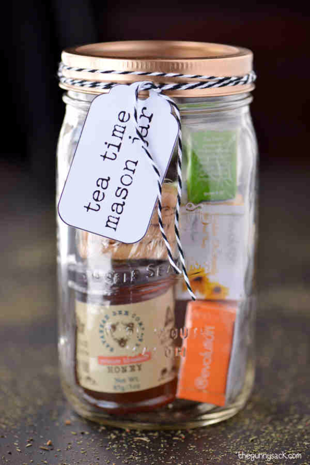 Best DIY Gifts in Mason Jars - Tea Time Mason Jar Gifts - Cute Mason Jar Crafts and Recipe Ideas that Make Great DIY Christmas Presents for Friends and Family - Gifts for Her, Him, Mom and Dad - Gifts in A Jar That Are Easy, Quick and Cheap http://diyjoy.com/best-diy-mason-jar-gifts