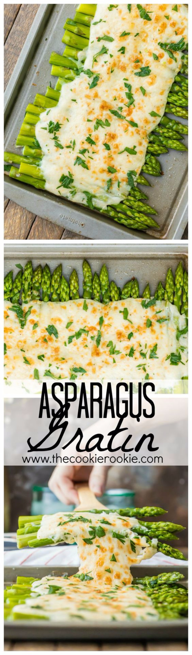 Easy Thanksgiving Recipes - Three Cheese Asparagus Gratin - Best Simple and Quick Recipe Ideas for Thanksgiving Dinner. Cranberries, Turkey, Gravy, Sauces, Sides, Vegetables, Dips and Desserts - DIY Cooking Tutorials With Step by Step Instructions - Ideas for A Crowd, Parties and Last Minute Recipes http://diyjoy.com/easy-thanksgiving-recipes