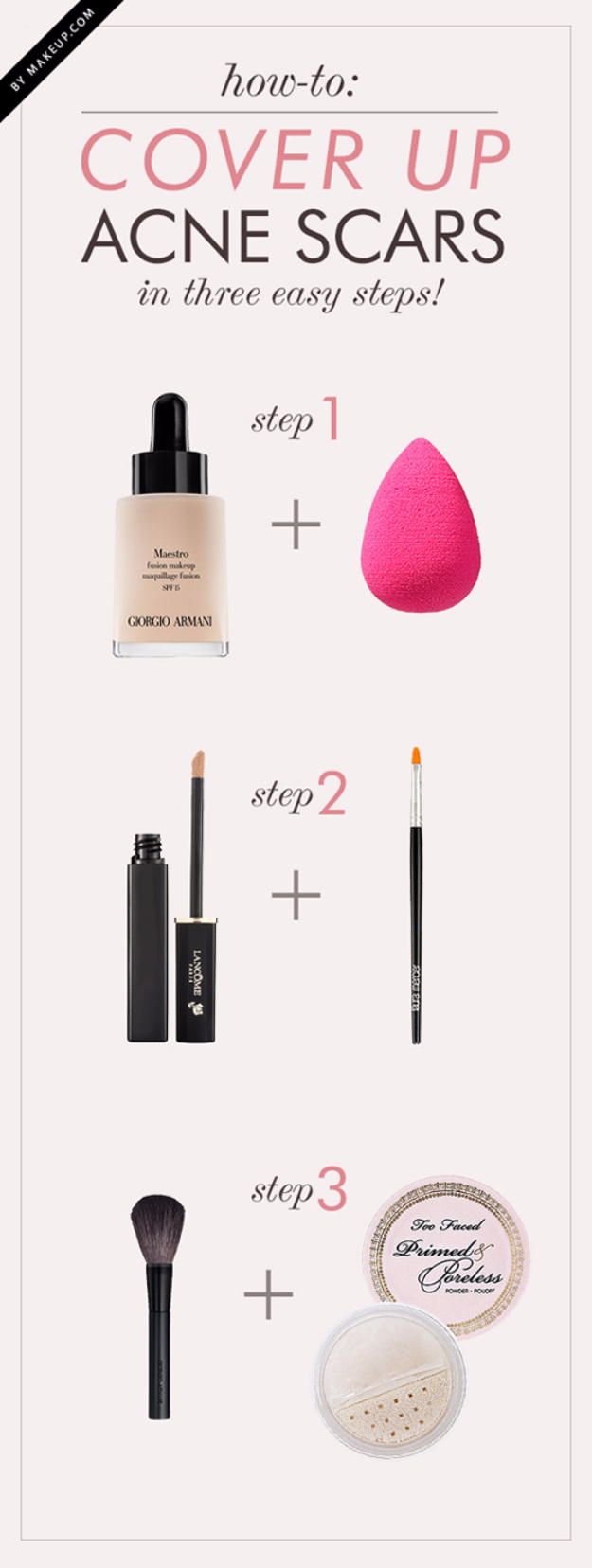 Cool DIY Makeup Hacks for Quick and Easy Beauty Ideas - Acne Cover Up - How To Fix Broken Makeup, Tips and Tricks for Mascara and Eye Liner, Lipstick and Foundation Tutorials - Fast Do It Yourself Beauty Projects for Women http://diyjoy.com/makeup-hacks