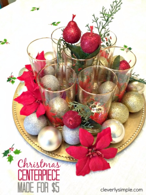 DIY Christmas Centerpieces - Christmas Centerpiece Under $5 - Simple, Easy Holiday Decorating Ideas on A Budget - Cheap Home and Table Decor for The Holidays - Dollar Store Crafts, Rustic Candles, Pine Cones, Floral Ideas and Mason Jar Craft Projects http://diyjoy.com/diy-christmas-centerpieces