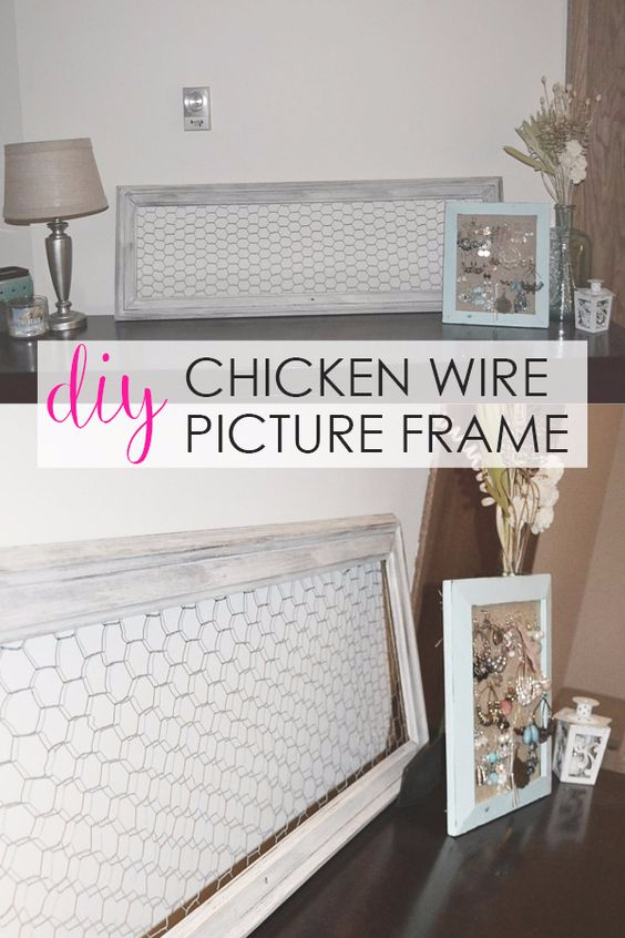 DIY Farmhouse Style Decor Ideas for the Bedroom - DIY Chicken Wire Picture Frame - Rustic Farm House Ideas for Furniture, Paint Colors, Farm House Decoration for Home Decor in The Bedroom - Wall Art, Rugs, Nightstands, Lights and Room Accessories http://diyjoy.com/diy-farmhouse-decor-bedroom