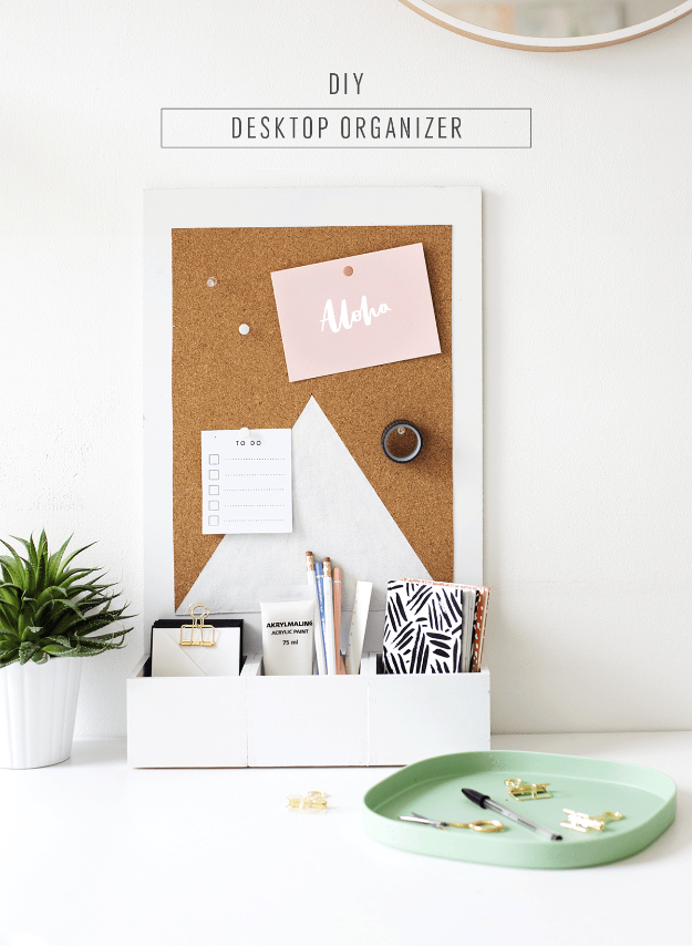 DIY Gift for the Office - DIY Desk Organizer - DIY Gift Ideas for Your Boss and Coworkers - Cheap and Quick Presents to Make for Office Parties, Secret Santa Gifts - Cool Mason Jar Ideas, Creative Gift Baskets and Easy Office Christmas Presents http://diyjoy.com/diy-gifts-office