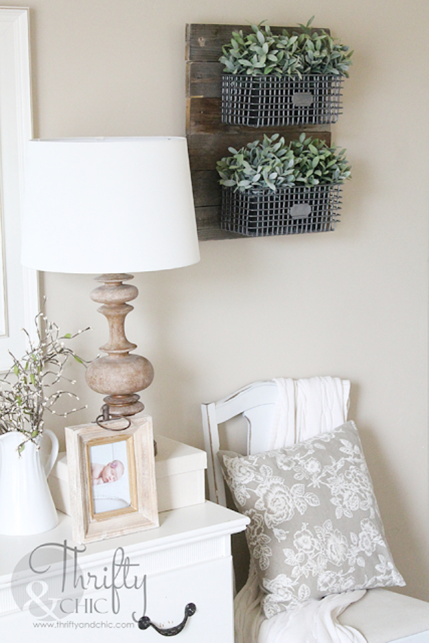 DIY Farmhouse Style Decor Ideas for the Bedroom - DIY Farmhouse Style Hanging Wire Baskets - Rustic Farm House Ideas for Furniture, Paint Colors, Farm House Decoration for Home Decor in The Bedroom - Wall Art, Rugs, Nightstands, Lights and Room Accessories http://diyjoy.com/diy-farmhouse-decor-bedroom