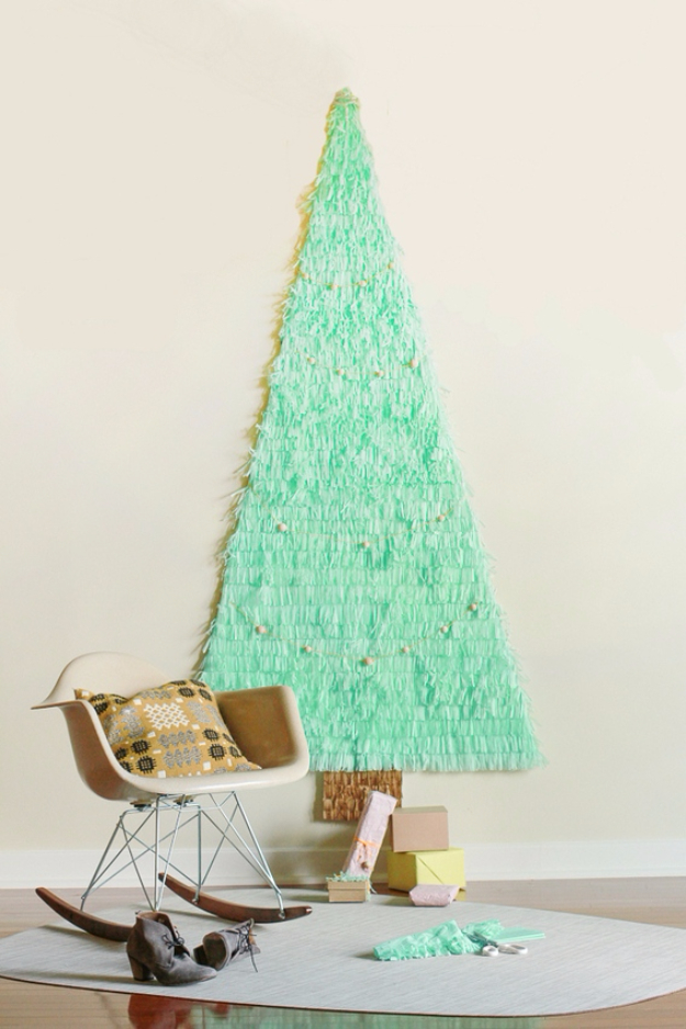 Best DIY Ideas for Your Christmas Tree - DIY Fringe Christmas Tree - Cool Handmade Ornaments, DIY Decorating Ideas and Ornament Tutorials - Cheap Christmas Home Decor - Xmas Crafts #christmas #diy #crafts