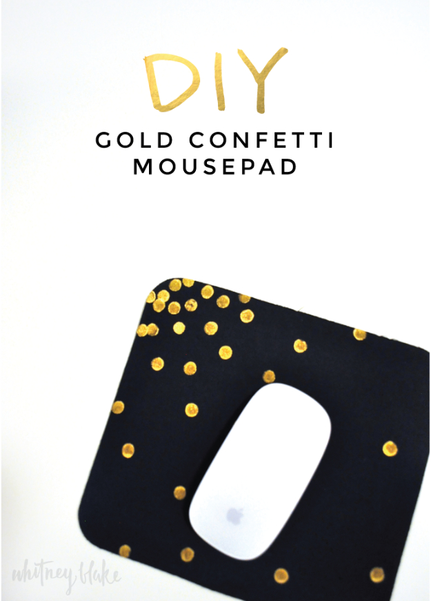 DIY Gift for the Office - DIY Gold Confetti Mouse Pad - DIY Gift Ideas for Your Boss and Coworkers - Cheap and Quick Presents to Make for Office Parties, Secret Santa Gifts - Cool Mason Jar Ideas, Creative Gift Baskets and Easy Office Christmas Presents http://diyjoy.com/diy-gifts-office