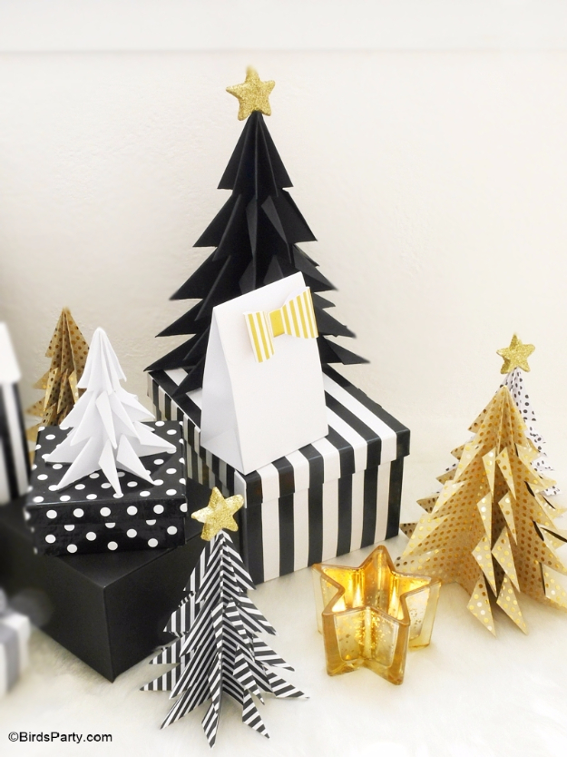 Best DIY Ideas for Your Christmas Tree - DIY Origami Paper Christmas Trees - Cool Handmade Ornaments, DIY Decorating Ideas and Ornament Tutorials - Cheap Christmas Home Decor - Xmas Crafts #christmas #diy #crafts