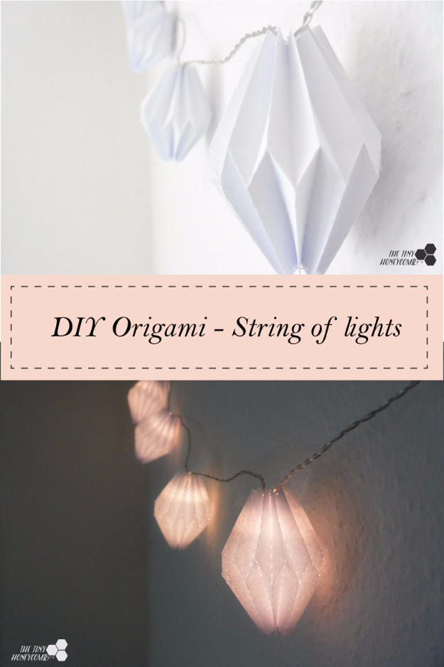Cool Ways To Use Christmas Lights - DIY Origami String Of Lights - Best Easy DIY Ideas for String Lights for Room Decoration, Home Decor and Creative DIY Bedroom Lighting - Creative Christmas Light Tutorials with Step by Step Instructions - Creative Crafts and DIY Projects for Teens and Adults http://diyjoy.com/cool-ways-to-use-christmas-lights